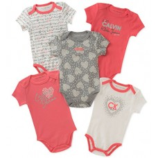 Calvin Klein Baby Girls 5 Pieces Pack Bodysuits, Coral/Rose/Gray/Vanilla, 3-6 Months