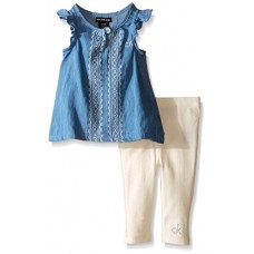 Calvin Klein Baby-Girls Light Denim Tunic and Rib Leggings, Blue, 6-9 Months