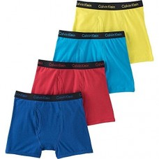 Calvin Klein Cotton Stretch Boys' Boxer Briefs (4 Pack) (X-Large, Blue-Red-SkyBlue-Green) XL