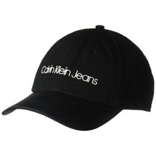 Calvin Klein Jeans Men's Washed Twill Baseball Dad Hat, Black, One Size