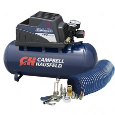 Air Compressor, Portable, 3 Gallon Horizontal, Oilless, w/10 Piece Accessory Kit Including Air Hose & Inflation Gun (Campbell Hausfeld FP209499AV)