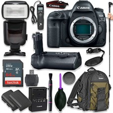 Canon EOS 5D Mark IV Digital SLR Camera Body with Pro Camera Battery Grip, Professional TTL Flash, Deluxe Backpack 200EG, Universal Timer Remote Co...