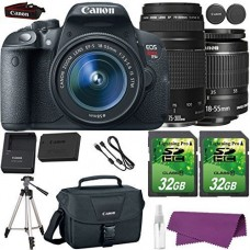 Canon EOS Rebel T5i DSLR Camera with Canon EF-S 18-55mm IS Lens + Canon EF 75-300mm III Lens + 2 Pieces 32GB SD Memory Card + Canon Bag + Cleaning ...