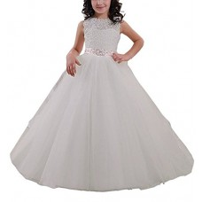 Carat Elegant Long Flower Girl Dress Lace Beading Tulle Ball Gowns for First Communion Dresses US Size12
