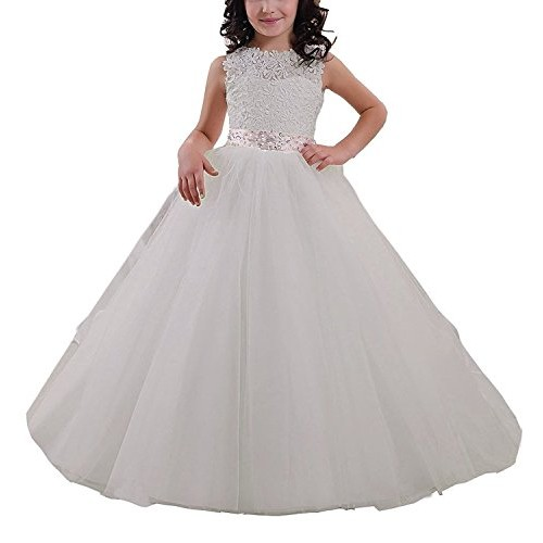 7d247f4bdbc Elegant Long Flower Girl Dress Lace Beading Tulle Ball Gowns For First  Communion Dresses US Size10