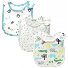Carter's Baby Boy 3-pack Bibs, Animal / Paws / Neutral, One Size
