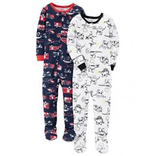 Carter's Baby Boys' 2-Pack Cotton Pajamas, Fire Truck/Dino, 18 Months
