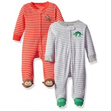 Carter's Baby Boys' 2-Pack Cotton Sleep and Play, Dino/Monkey, Newborn