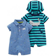 Carter's Baby Boys' 2-Pack One Piece Romper, Stripe Whale/Blue Schiffli, 6 Months