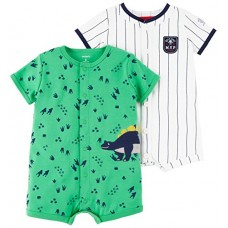 Carter's Baby Boys' 2-Pack Snap up Romper, Dino/MVP, 3 Months