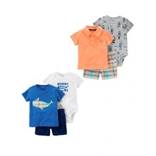 Carter's Baby Boys' 6-Piece Bodysuit Tee and Short Set, Plaid Whale/Orange Polo, 3 Months