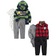Carter's Baby Boys' 6-Piece Jacket and Vest Set, Truck/Buffalo Check, 9 Months