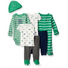Carter's Baby Boys' 7-Piece Bodysuit Set, Green Dino, Newborn