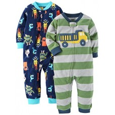 Carter's Baby Boys' Toddler 2-Pack Fleece Footless Pajamas, Monster/Truck, 4T