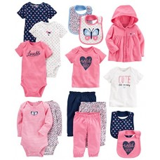 Carter's Baby Girls' 15-Piece Basic Essentials Set, Floral, 12 Months