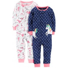 Carter's Baby Girls' 2-Pack Cotton Footless Pajamas, Unicorn/Dino, 12 Months
