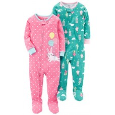 Carter's Baby Girls 2-Pack Cotton Pajamas, Bunny/Princess, 18 Months