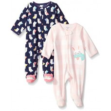Carter's Baby Girls' 2-Pack Microfleece Sleep and Play, Navy Owl/Bunny, 9 Months