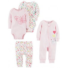 Carter's Baby Girls 4-Piece Gift Set, Pink Floral, Newborn