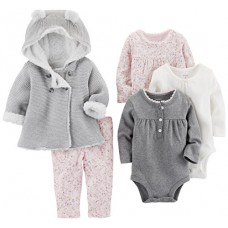 Carter's Baby Girls' 5-Piece Playwear Set, Pink/Grey, 6 Months