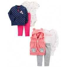 Carter's Baby Girls' 6-Piece Jacket and Vest Set, Denim Quilted/Pink Dot, 18 Months
