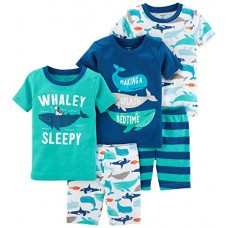 Carter's Boys' Toddler 5-Piece Cotton Snug-Fit Pajamas, Whale, 5T
