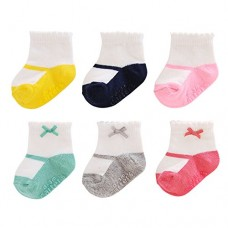 Carter's Girl 6-Pack Socks with Grippers, Crew-Mary Jane with Bow, 12-24 Months