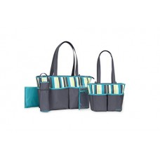 Carter's Multi Stripe 5 Piece Baby Diaper Bag Set for Women - Large, Cute Totes Great for Newborn and Toddler Girls - Wipeable, Roomy, Zip Tote Bag...