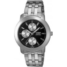 Casio Men's MTP1192A-1A Silver Stainless-Steel Quartz Watch with Black Dial