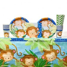 Boy Monkey Party Supplies Pack for 16 Guests: Straws, Dinner Plates, Luncheon Napkins, Cups, and Table Cover