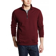 Charles River Apparel Men's Big Crosswind Quarter Zip Sweatshirt, Maroon, Medium