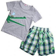 Boy Kids Crocodile Print Short Sleeve T-shirt and Lattice Shorts Outfit(2 (1-2Y))