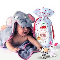 Cherry Baby Organic Baby Hooded towel with Free Animal Finger Puppets - Hypoallergenic, Super Soft and Absorbent Cotton - Cute Elephant Face Design...