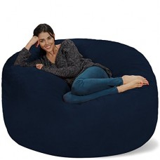 Chill Sack Bean Bag Chair: Giant 5' Memory Foam Furniture Bean Bag - Big Sofa with Soft Micro Fiber Cover - Navy