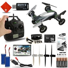 Fly & Drive 6-Axis 2.4 Ghz Air & Land Remote Control Quadcopter Drone Kit with Extra Batteries & Portable Power Charger