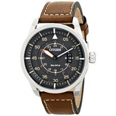 Citizen Men's Eco-Drive Brown Leather Strap Watch with Date AW1361-10H