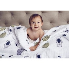 Organic Muslin Baby Toddler Blanket - 100% Hypoallergenic Cotton Bed Blankets - Cuddle Bears by Clover & Sage