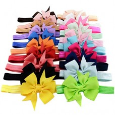 20pcs/lot 3 Inch Cute Kids Baby Girls headband Toddler Infant Chiffon Bowknot Headbands Solid Color Hair Bows Hair Band Accessories Christmas Gift