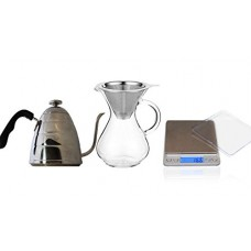 CoastLine Pour Over Coffee Kit | Includes 4-Cup Carafe with Stainless Steel Reusable Filter, Pour-Over Kettle With Built In Thermometer, and Digita...