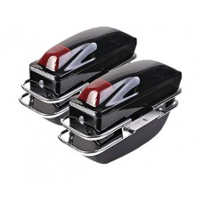 Comie 2 Pcs Motorcycle Cruiser Hard Trunk SaddleBags Luggage w/ Lights Mounted Chrome Rail Bracket Black