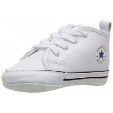 Converse Kid's First Star Leather High Top Shoe, white, 3 M US Infant