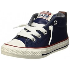 CONVERSE KIDS K ALL STAR STREET MID MIDNIGHT NAVY RED LEATHER SIZE 12.5