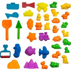 CoolSand Animal Sand Molds and Tools Kit (36 Pcs) - Works with all other Play Sand Brands - Includes: 10 Dinosaurs, 10 Animals and 12 Beach Molds, ...