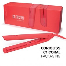 C1 Professional Styling 1 Inch Flat Iron QualityArgan Oil Infused Ceramic Plates Coral