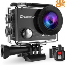 Crosstour Action Camera 4K WIFI Underwater Cam 16MP Ultra HD Waterproof Sports Camera with Remote Control 170°Wide-angle 2 Inch LCD Plus 2 Recharge...