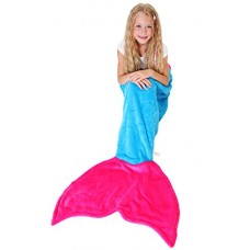Mermaid Tail Blanket - Super Soft and Warm Polar Fleece Fabric Blanket by Cuddly Blankets. Perfect for Kids and Teens (Ages 3-12) (Ocean Blue and H...