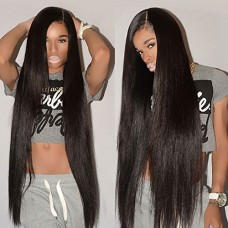 CYNOSURE Straight Brazilian Hair 3 Bundles Grade 8a Unprocessed Straight Human Hair Extensions Natural Black (14 16 18inches)