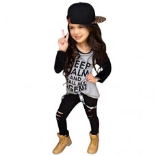 DaySeventh Toddler Girls Outfit Clothes Print T-shirt Tops+Long Pants Trousers 1Set (Size:6T Label Size:120, Black)
