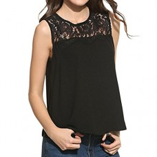 DaySeventh Women Chiffon Lace Sleeveless Shirt Blouse Comfort Tank Tops (L, Pure Black)