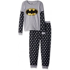 DC Comics Girls 'Batman Batgirl Logo' Waffler Doubler Thermal Cotton Pajama Set, Black, 8
